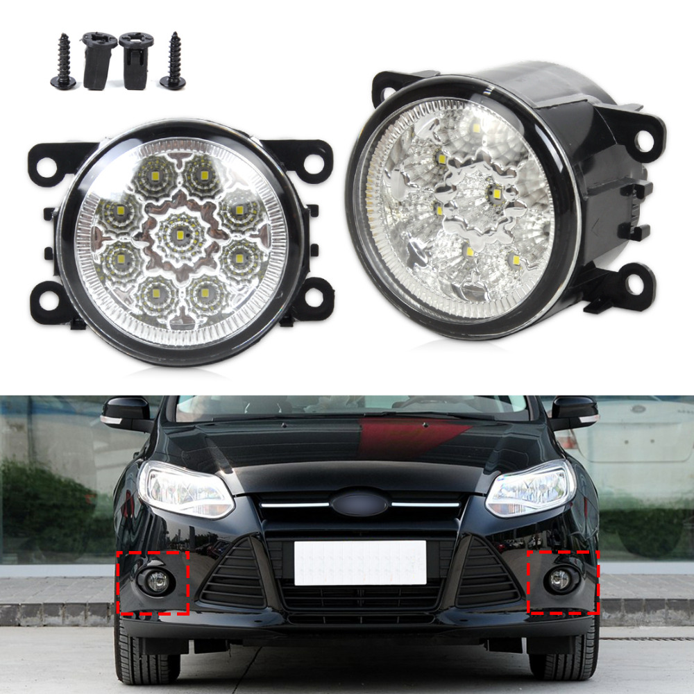 ФОТО 2pcs 55W 9-LED Round Front Right/Left Fog Lamp DRL Daytime Running Driving Lights for Ford Focus Acura Honda Subaru Nissan