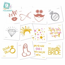 60x60mm Different Small Cartoon Metallic Silver Temporary Tattoo The stars and Bachelor party Flash Tatoo Sticker