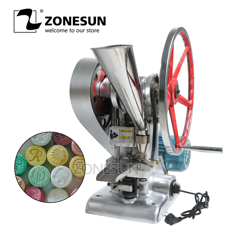 ZONESUN Tablet Press Machine TDP1.5 15KN Pressure Press Harder sugar tablet slice Maker Single Punch milk Tablet Making Machine zonesun manual single punch sugar tablet press machine sugar milk slice making tdp 0 hand operated mini type 20kg