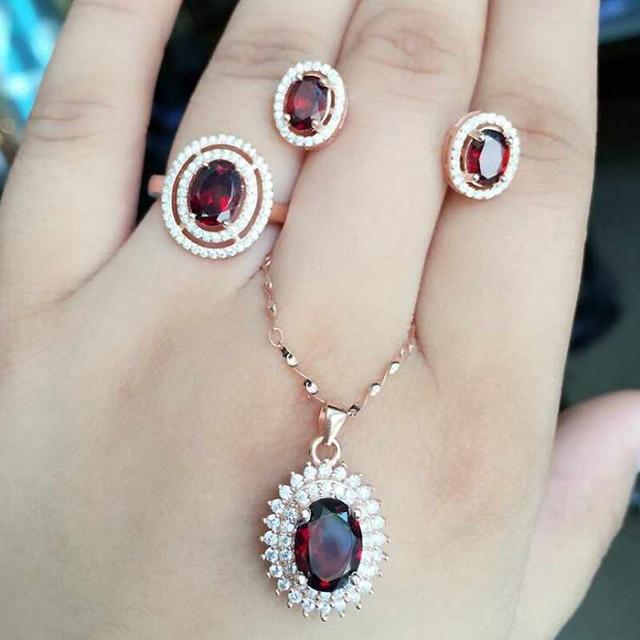 Natural Gemstone Jewelry Garnet Rose Gold Women 925 Silver Jewelry Set Wedding Necklace/Earrings/Ring Sets Fine Jewelry YJS011