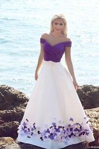 Image 3 - Romantic Purple and White Beach Wedding Dresses 2020 Floor Length Pleated Handmade Flowers Bridal Gowns Elegant Wedding Dress