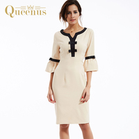 Queenus Women Dress 2017 Bodycon Pleated Day Dresses Flare Sleeve Bow Elegant Beige OL Plain Women