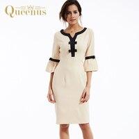 Queenus Women Dress 2017 Bodycon Pleated Day Dresses Flare Sleeve Bow Elegant Beige OL Plain Women