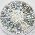 U119 Frete Grátis 5 Tamanhos 400 Pçs/set Dicas Nail Art Cristal Glitter Rhinestone 3D Nail Art Decoração Roda
