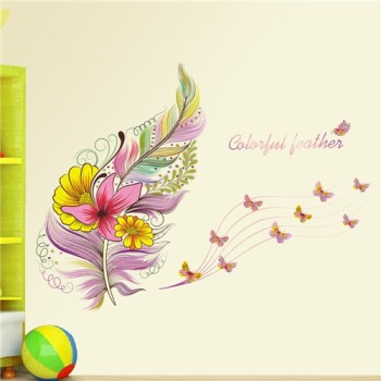 Colourful 3D Vivid Feather Butterfly Birds Flower wall stickers home decoration living room pvc wall decals diy mural art poste 9