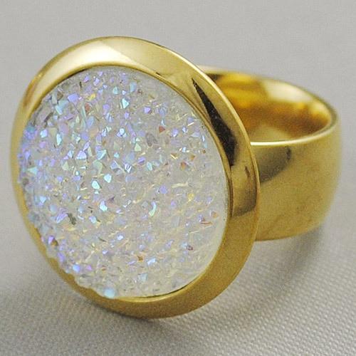 Gokadima 2017 Big Stone Rings Anillo de acero inoxidable de color dorado para mujer Púrpura / Blanco / Rosa Europa Exagerada Party Lady Jewelry