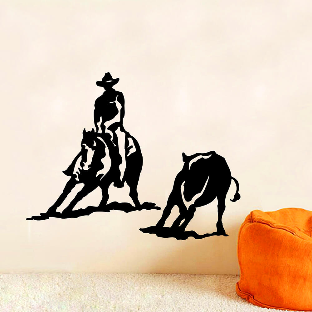 Zuczug Black Pvc Wall Stickers Equestrian Wild West Cowboy Mustang 3d Removable Wall Decals Home Decor