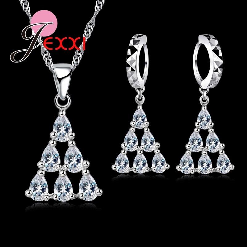 Angemessen Jemmin Luxus Design Wasser-tropfen-form Cz Striking Hochzeit Schmuck-sets Halskette Und Ohrringe 925 Sterling Silber Erfrischung