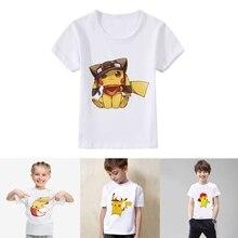 Amusing Pikachu Cartoon pattern Modal Kidswear Boy/girl Summer T-shirt Short Sleeve White Lovely Kid Clothes
