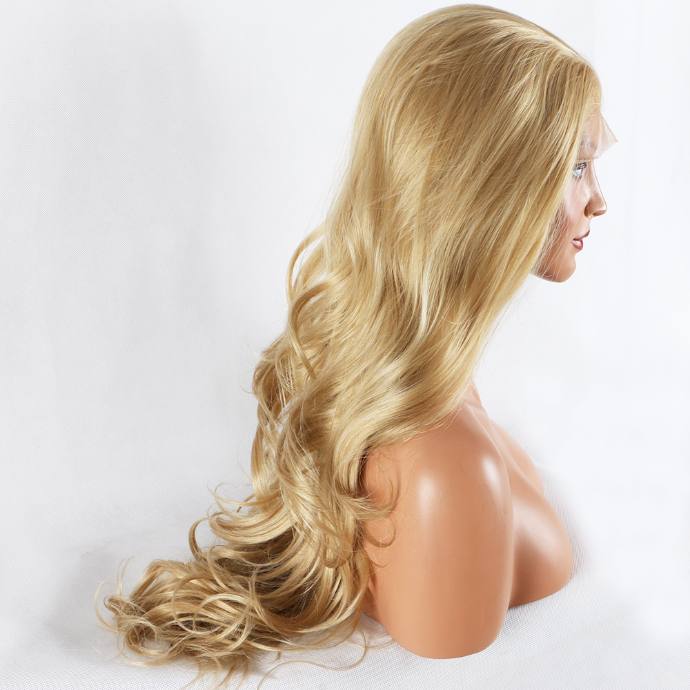 Fantasy Beauty Blonde Lace Front Wig Long Curly Synthetic Lace Wig Hair Replacement Wigs for Women 24 Inches