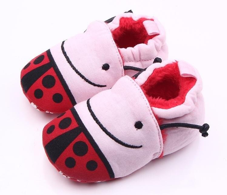 Новый стиль 0-12 месяцев Детские Обувь для девочек Обувь для мальчиков Прекрасный мультфильм обезьяна/жуки теплые хлопковые мягкие Нескольз...