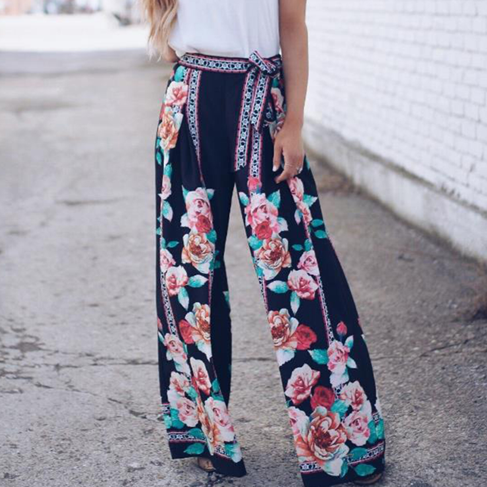 Summer Women Boho Style High Waist Floral   Wide     Leg     Pants   Loose Trouser