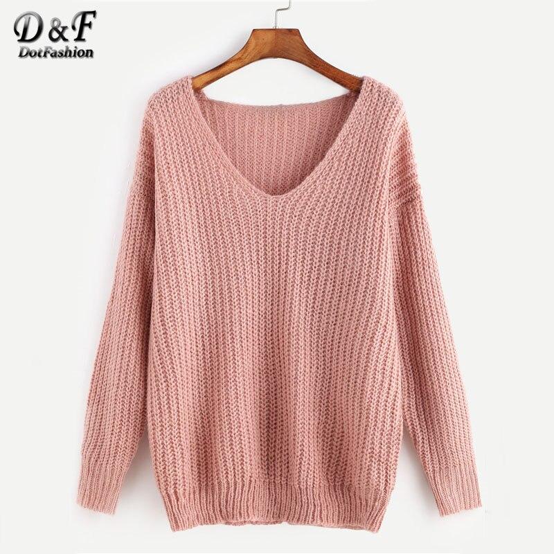 Dotfashion Pink <font><b>Ribbed</b></font> Knit V Neck Drop Shoulder Plain <font><b>Sweater</b></font> <font><b>Long</b></font> <font><b>Sleeve</b></font> Pullovers Autumn Loose Waffle Knit <font><b>Sweater</b></font>
