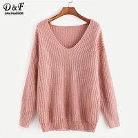 Dotfashion Pink Ribbed Knit V Neck Drop Shoulder Plain Sweater Long Sleeve Pullovers Autumn Loose Waffle