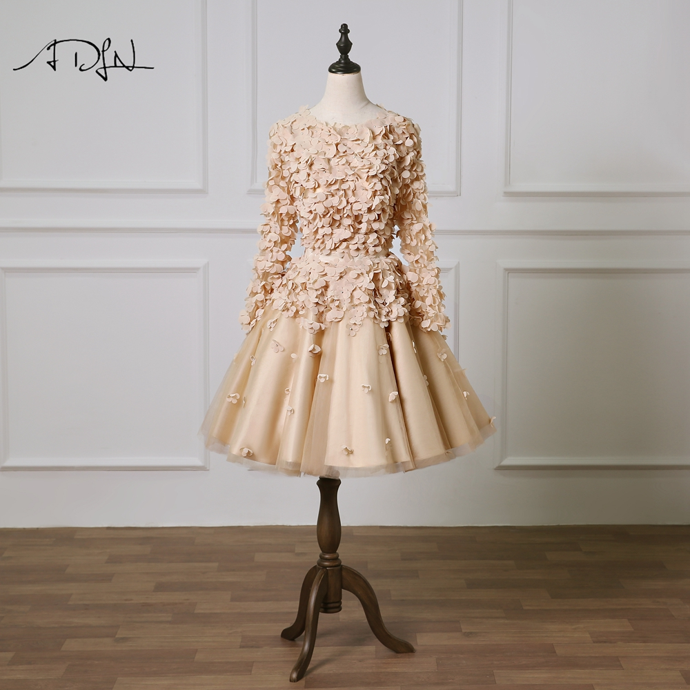 ADLN Stylish Champagne   Cocktail     Dresses   with Flowers Scoop Long Sleeves A-line Knee-length Party   Dress   Graduation Gown