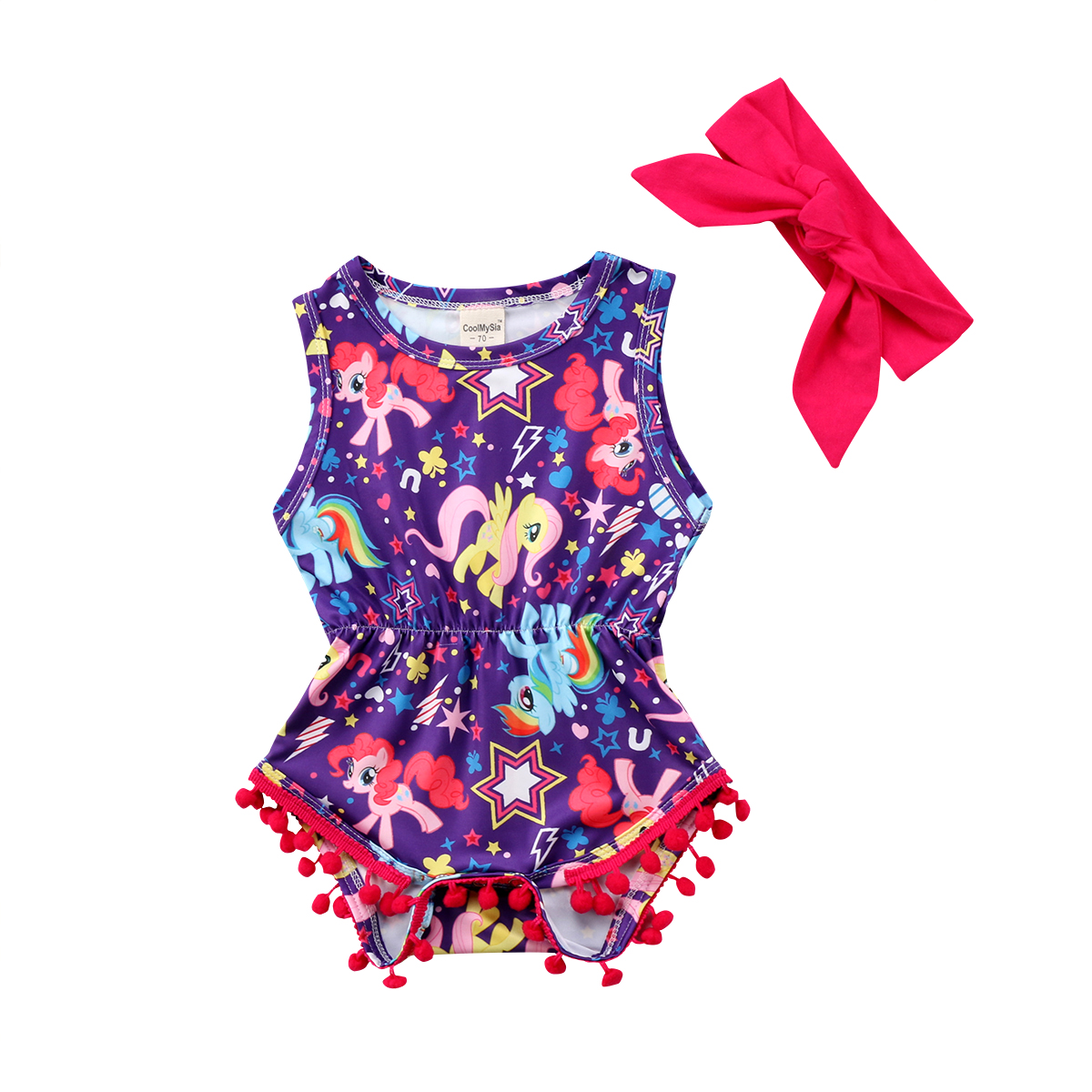 0-24M Soft cotton 2Pcs Newborn Baby Girl Unicorn Floral Sleeveless Romper Jumpsuit Outfits Clothes+Bow