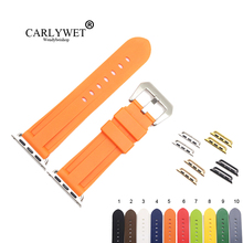 CARLYWET Fashion 38 40 42 44mm Black Orange Silicone Rubber Replacement Wrist Watchband Strap Loops For Iwatch Series 4/3/2/1