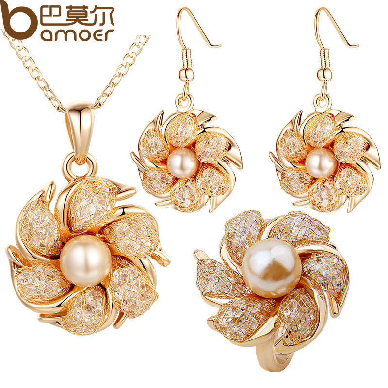 BAMOER Gold Color Bridal Jewelry Sets and More with Pearl and Crystal for Women Anniversary High