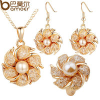 Bamoer 18K Gold Plated Bridal Jewlery Sets With Pearl And Crystal For Women Anniversary High Quality