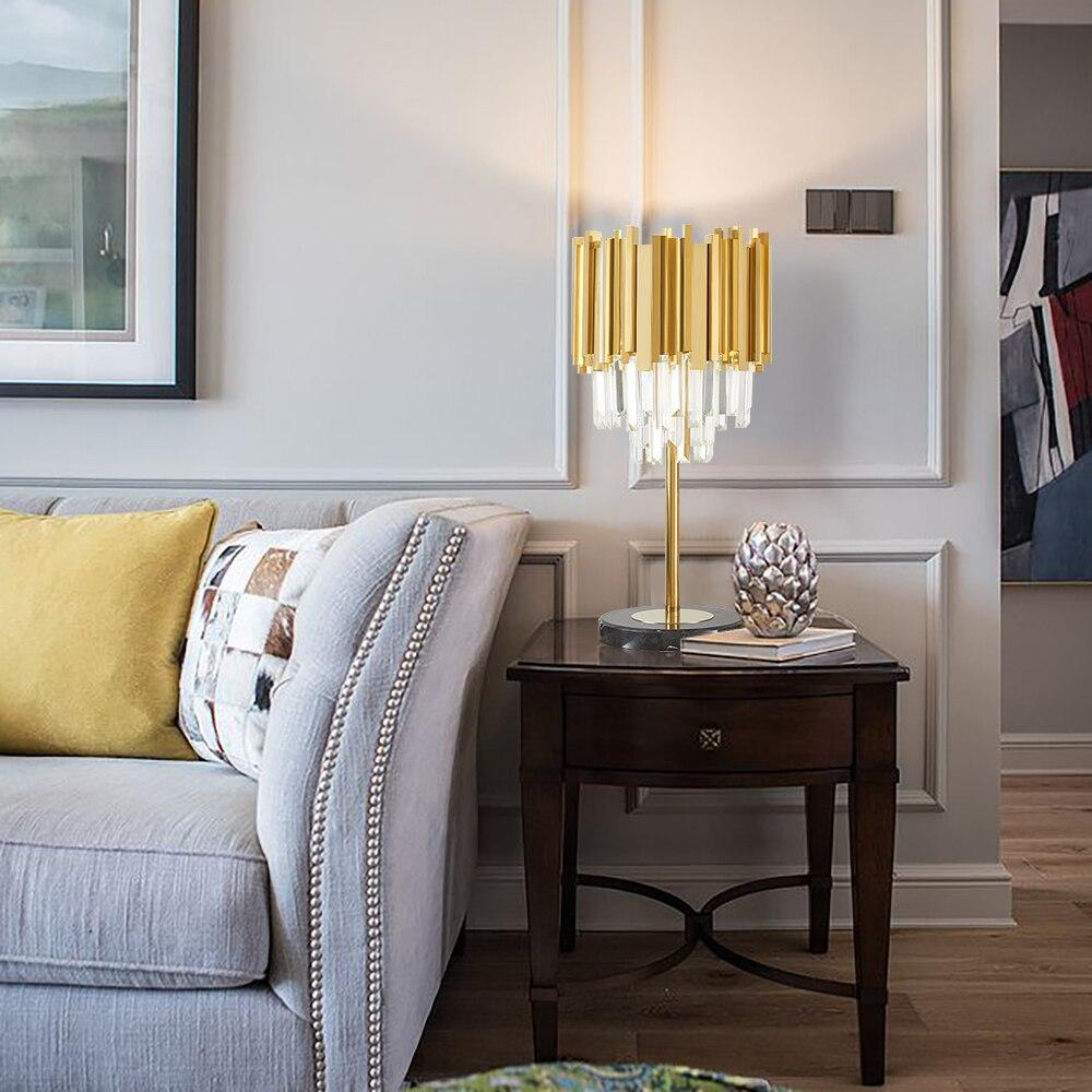 Modern Bedroom Table Lamp Gold Polished Steel Crystal Desk Decor Light fixtures 2