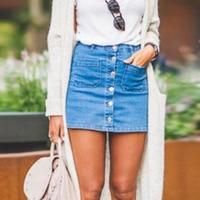 2017 Women Autumn Denim Skirts Fashion High Waist Cowboy Skirts Blue Mini Jeans Skirt Female Sexy