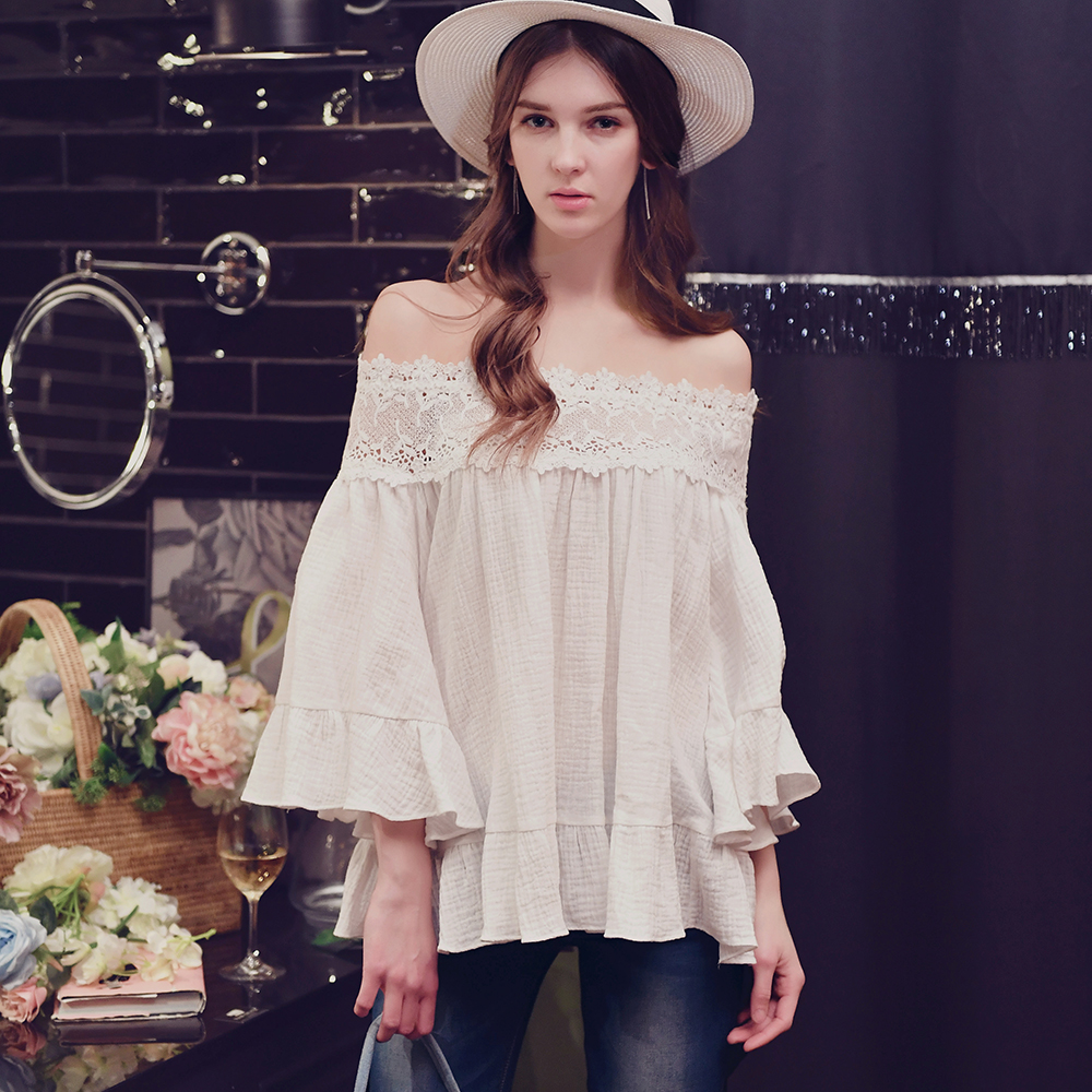 Dabuwawa spring new arrival off shoulder lace ruffled cotton font b blouse b font