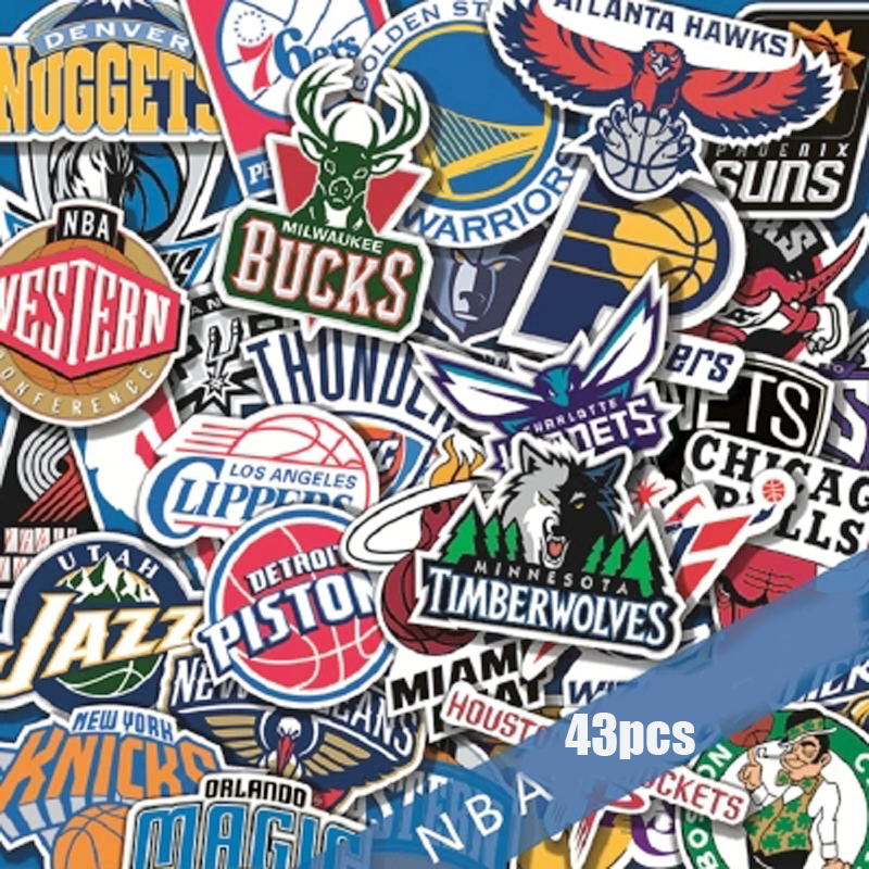 43Pcs/Lot NBA Club Logo Stickers  For Luggage Car Laptop Trunk Skateboard Guitar Bicycle Decal Car-Styling