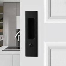 Черный цинковый сплав деревянная дверная ручка замок с ключами для интерьера оборудование для раздвижной двери сарая