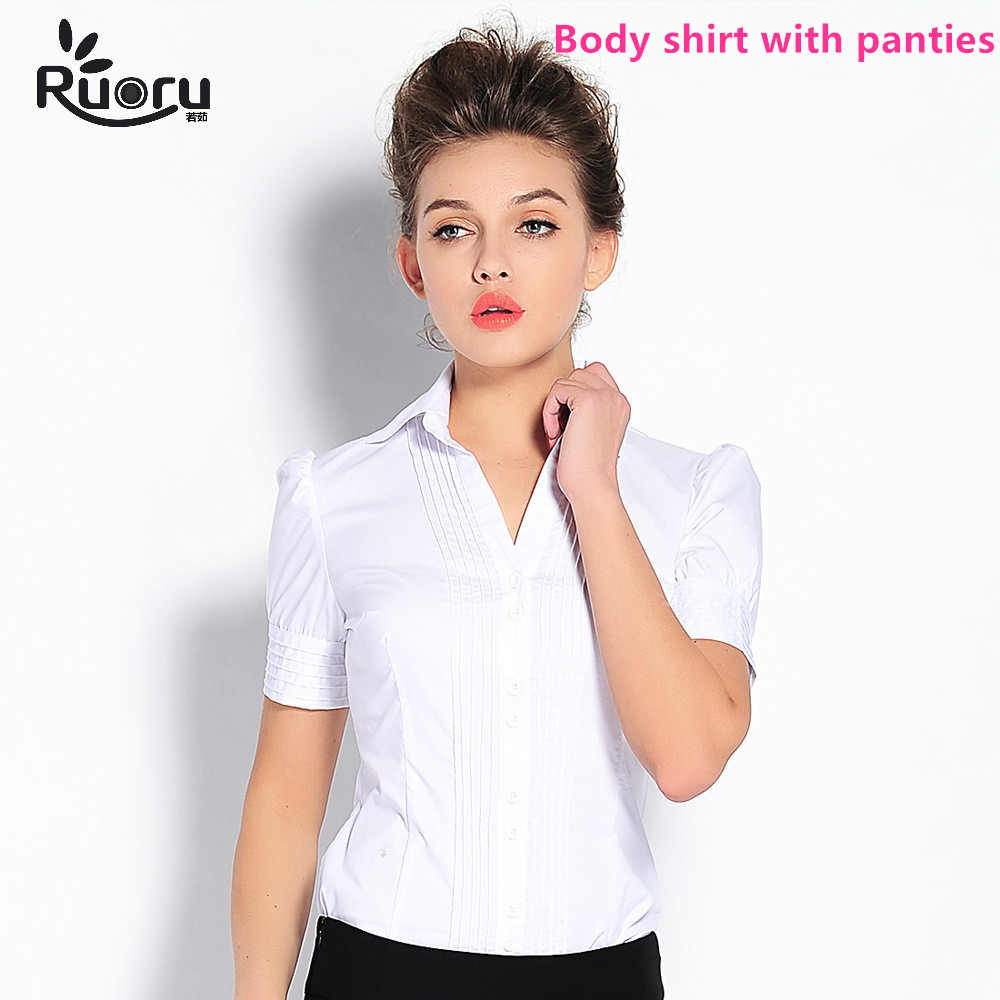 a462f1217c8 Detail Feedback Questions about Ruoru V Neck Zip Body Shirt Blouse ...