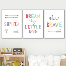 Inspirational Quotes Dream Big Brave Nursery Wall Art Canvas Painting Nordic Posters And Prints Pictures Kids Room Decor