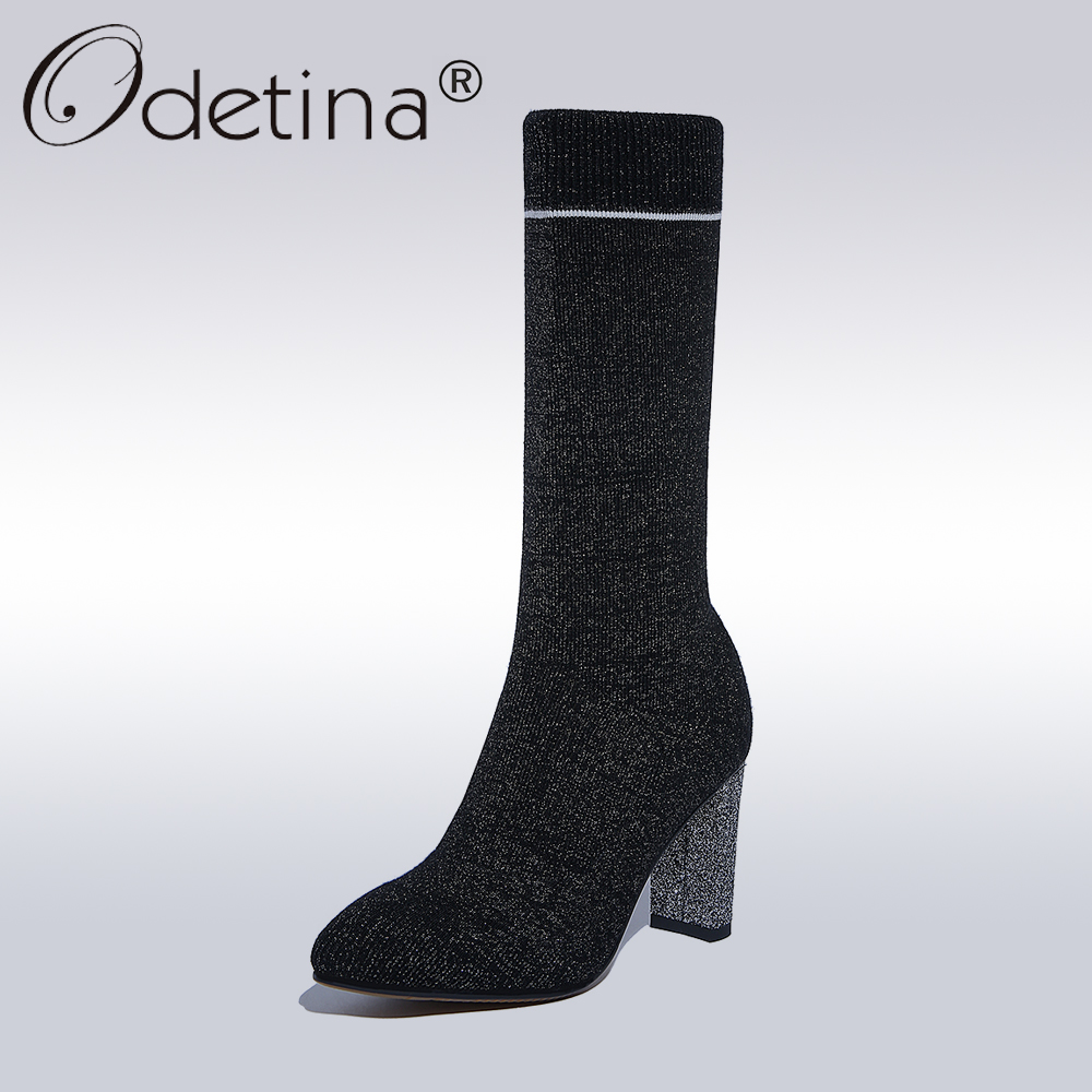 Odetina 2017 Fashion Stripe Stretch Sock Boots Women High Heel Pointed Toe Mid-calf Boots Lady Autumn Stretch Knitting Boots fonirra women mid calf stretch fabric sock boots pointed toe sexy brand design high heel women winter boots ladies shoes 670