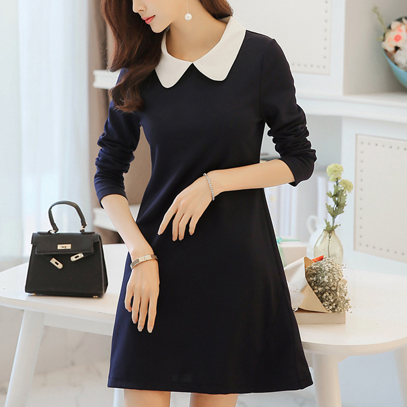 Women Dress A Line One-Piece Frock Slim Dress With Long Sleeve Peter-pan Collar Korean Style NGD88