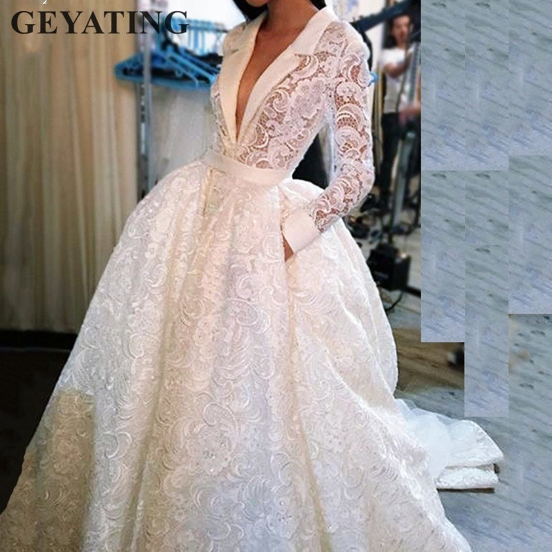 Elegant Women Arabic   Evening     Dresses   Long Sleeves Vintage Lace V Neck Dubai Prom   Dress   abiye gece elbisesi Formal Party Gowns