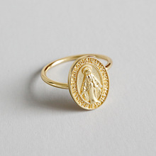 HFYK 2019 925 sterling silver rings gold Virgin Mary round for women riligious bague femme argent joyas de plata