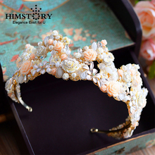 Himstory Handmade European Retro Baroque Floral Brides Tiara Crown Pearls Crystal Hairbands Wedding Hair Accessories