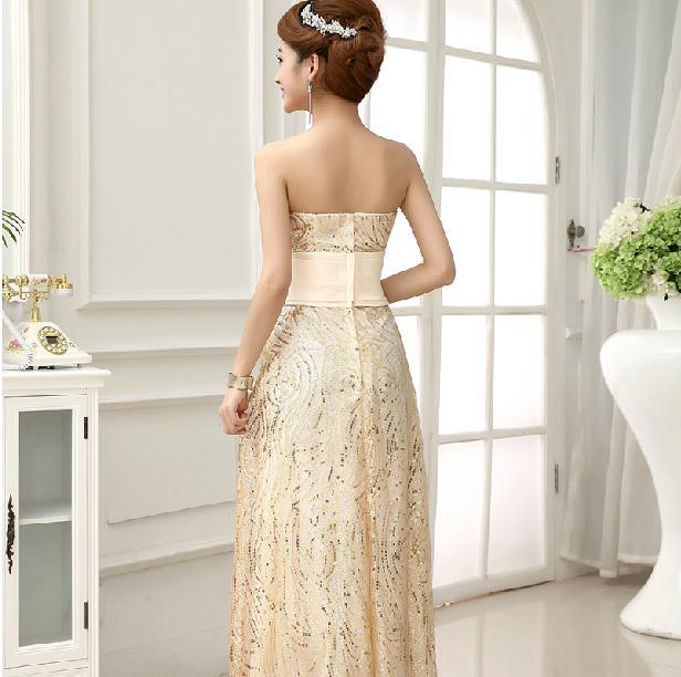 f65cea81393 New 2014 Fashion Formal dress Gold Chiffon Tube Top Long Evening dress High  waist Slim vestido de festa gown party dresses E65 on Aliexpress.com