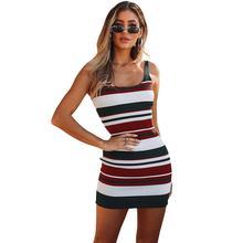 2019 New Sleeveless Yfashion Women Sexy Slim Stripes Tight Jersey Slip Dress