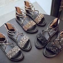 Сандалии для девочек; модная блестящая обувь для девочек со стразами