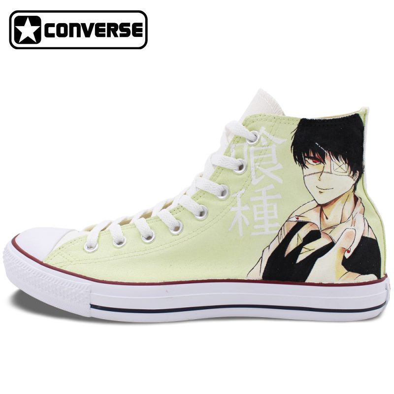Custom Design Converse All Star Hand Painted Shoes Tokyo Ghouls for Men Women High Top Canvas Sneakers Presents Gifts converse chuck taylor women men shoes anime tokyo ghouls custom design hand painted shoes high top white sneakers cosplay gifts