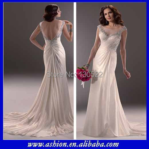 Free Shipping We 1745 Crystals Trimmed Illusion Bateau Neckline