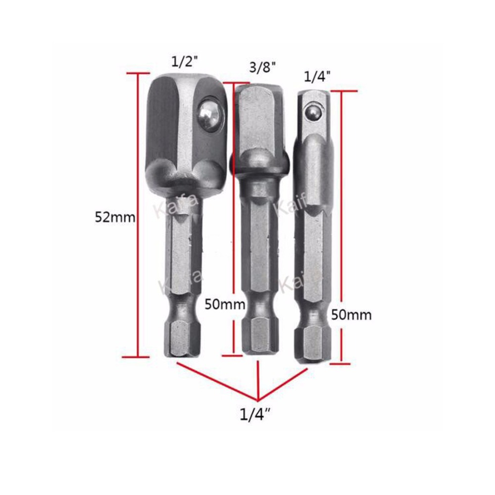 3pcs/lots Chrome Vanadium Steel Socket Adapter Set Hex Shank to 1/4 3/8 1/2 Extension Drill Bits Bar Hex Bit Set Power Tools