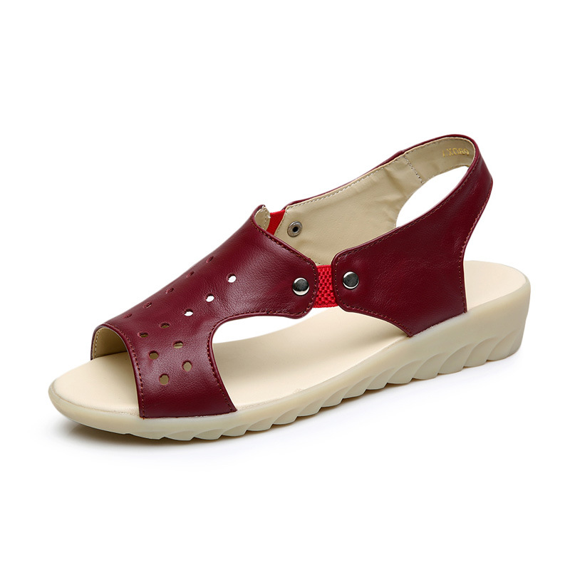 blanco Cuña Vaca Mujer Gratis Cuero Eu Genuino 43 rojo Verano Negro Zapatos Talla De verde Grande Sandalias Moda Para Envío 100 wqApRR