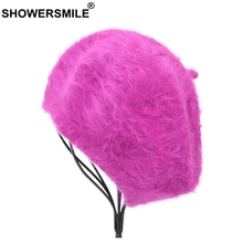 SHOWERSMILE Women Beret Hat Rosered Rabbit Cap Female Soft Fashion Solid Painters Hats Ladies Kintted Winter French Artist
