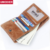 UMODIER Men And Women Business Credit Card Holder Blocking Rfid Wallet Crazy Horse Genuine Leather Purse Travel Card Wallets