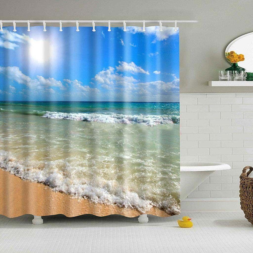 Bathroom Shower Curtain Waterproof Sheer Hanging Panel Hooks Set New ...