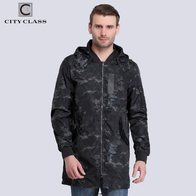 City Class 2018 New Spring Summer Windbreaker Mens Jackets And Coats Removable Hood camouflage Fashion Waterproof Trench 3968