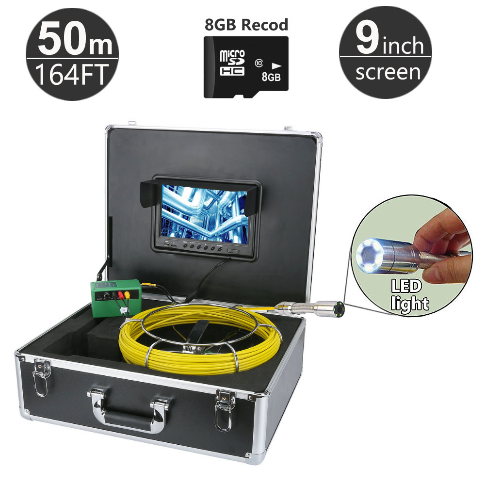 50M/164ft Sewer Pipe Inspection Camera System 9 Monitor 1000TVL Snake Drain Waterproof Video Camera DVR Function with 8GB Card dhl free wp90 50m industrial pipeline endoscope 6 5 17 23mm snake video camera 9 lcd sewer drain pipe inspection camera system