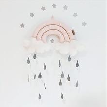 cloud rainbow raindrops hanging nursery mobile room decoration baby gift baby crib mobile