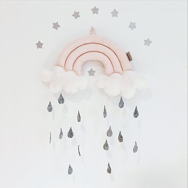 Cloud Rainbow Raindrops Hanging Nursery Mobile Room Decoration Baby Gift Crib