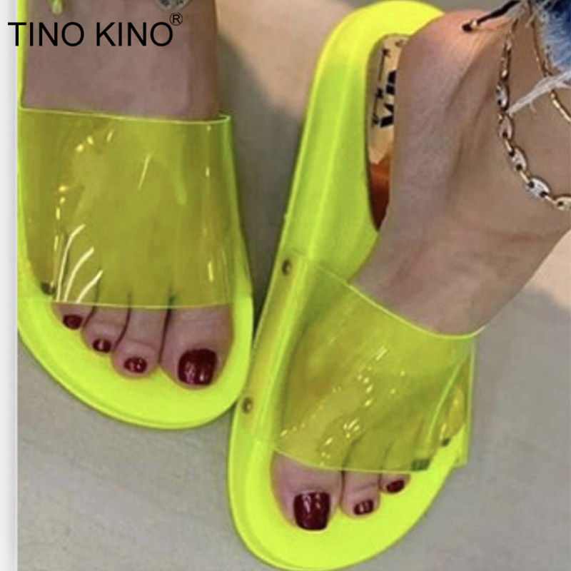 Women Summer Beach Sandals Slip On Shoes Lady Rubber Candy Color Hollow Out Shoe